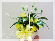 Peace Lily Planter with Fresh Cut Roses