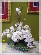 Orchids, Roses and Magnolia :: Silk Flower Arrangement